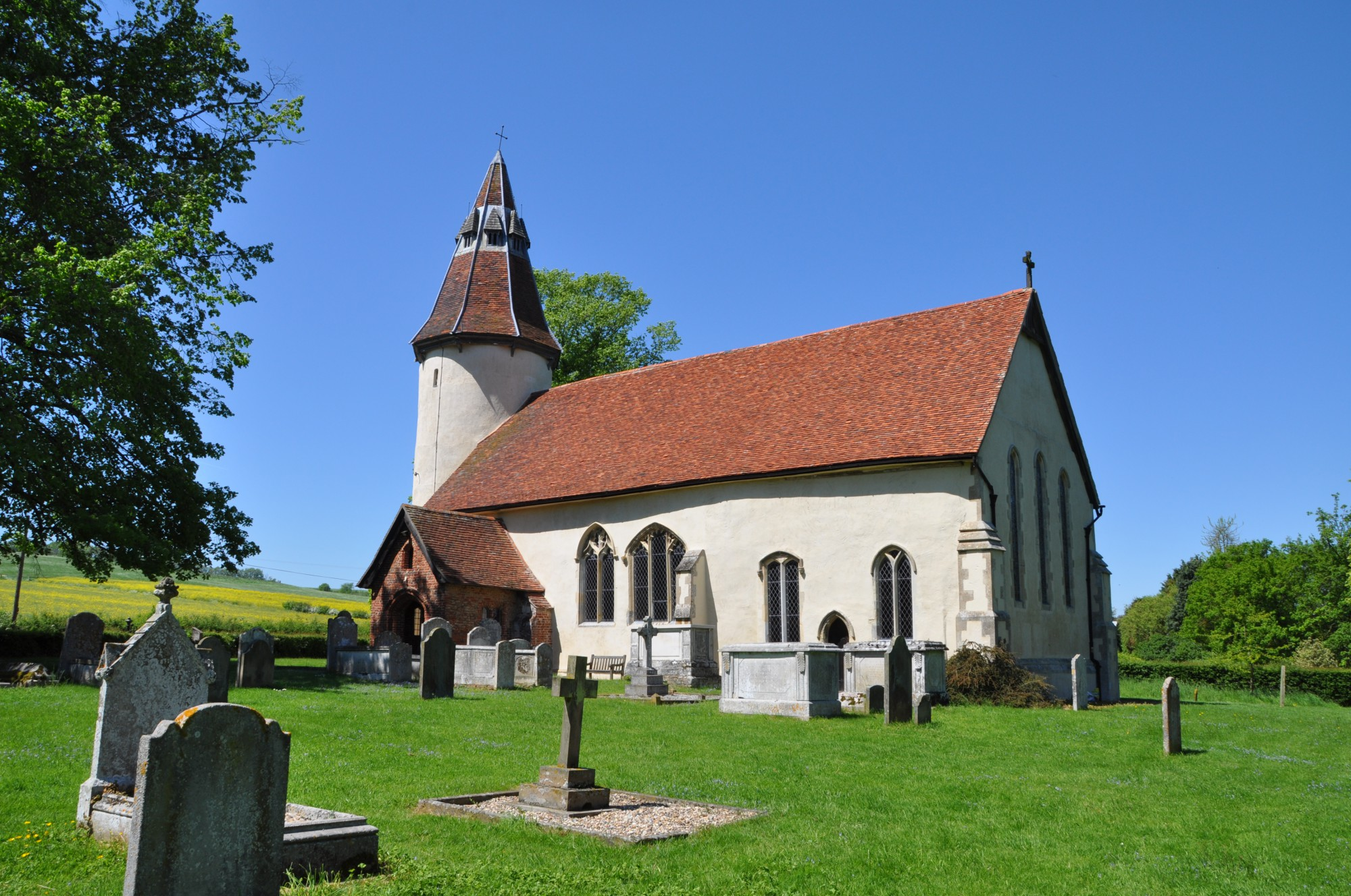 The Church of the Holy Innocents at Lamarsh is one of only six round towers in Essex