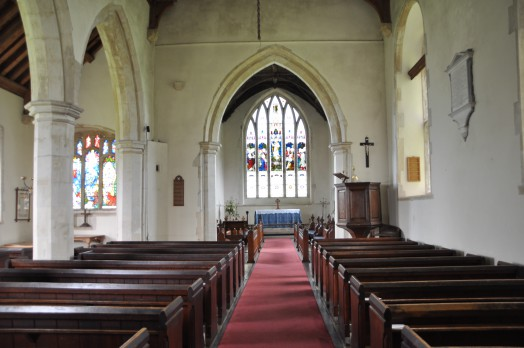 The interior of St Andrew's Church at Bulmer