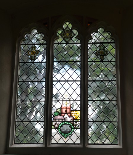 A view of the whole window including the most recent memorial