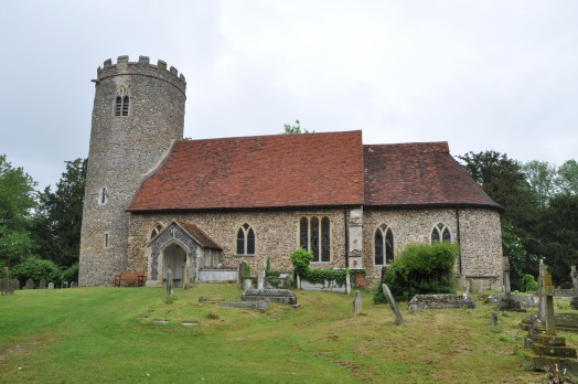 The round towered church of St Gregory and St George at Pentlow.