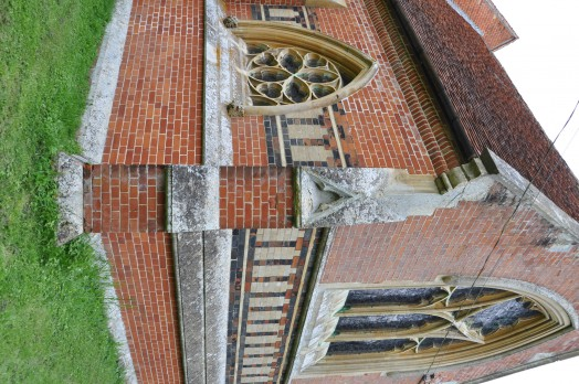The brick work at Twinstead church is bright red, yellow and black