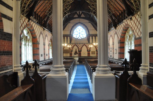 The interior of Twinstead church
