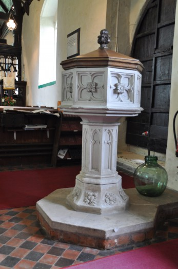 The font at Wickham St Paul church dates from the 16th century